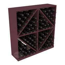 Solid Diamond Wine Storage Bin in Pine with Burgundy Stain - This solid wooden wine cube is a perfect alternative to column-style racking kits. Holding 8 cases of wine bottles, you can double your storage capacity with back-to-back units without requiring more access area. This rack is built to last. That is guaranteed.