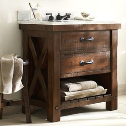 Benchwright Single Sink Console, Rustic Mahogany stain