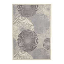 """Nourison - Nourison Graphic Illusions Transitional Circles Grey 7'9"""" x 10'10"""" Rug by RugLot - Striking, bold patterns define this alluring collection of tantalizing rugs. Featuring an exciting hand-carved, high-low texture and contemporary color palette, these attractive area rugs will add a distinctive flair to any setting. Indulge the senses and make a bold statement with these durable and captivating creations for the floor."""