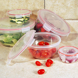 None - Lock and Seal 10-piece Round Storage Container Set - These round storage containers feature click and lock airtight lids that seal and lock-in the freshness. Constructed with food grade plastic,these durable storage containers nest for easy storage.