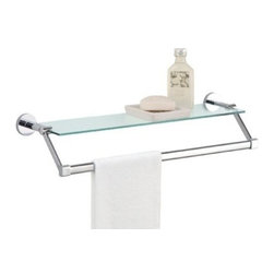 Organize It All - Glass Shelf with Chrome Towel Bar - Our easy to mount on the wall to provide you with more counter space. Add a touch of glam to your bathroom or any other room in your home. Also perfect for displaying your collection of gorgeous perfume bottles.