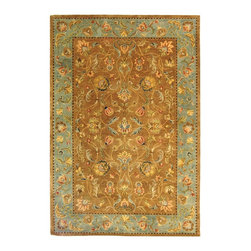 """Safavieh - Bergama Brown/Blue Area Rug BRG161A - 2'3"""" x 8' - The Bergama Collection includes beautiful reproductions which are hand-tufted to create the same symmetrical knots used in the antique rugs in Safavieh's private archival collection of Peshawar rugs. Made in India, the pure wool rugs in this collection recreate the design and quality of Peshawars made for the top end of the market to a broader base of customers with superior hand tufted quality."""