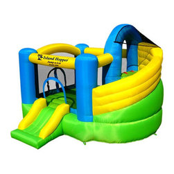 Island Hopper - Jump-A-Lot Curved Double Slide Bounce House - The Island Hopper Jump - a - lot Double Slide Inflatable Bounce House is the ultimate in bouncing and sliding fun. This product features a huge curved ''inside return'' soft landing slide that is accessed by a climbing wall. Your kids will always land softly after twisting and turning down this huge 11' long inside slide. it also features a front entrance and exit slide and a side access. It's a home inflatable gym and amusement park all in one. Features: -Jump - A - Lot Curved Double Slide Inflatable Bounce House.-Material: Heavy Laminated and Coated Vinyl and Nylon.-Double stitched reinforced seams and reinforced jump surface.-Puncture and fire resistant ASTM compliant toy safety standards.-Bounce house with climbing wall and curved slide.-Maximum load of 4 kids or 400 lbs..-Weighs 60 lbs for easy portability.-UL certified content air blower with GFCI circuit breaker included.-Includes anchor stakes / oversized carry bag / rip and tear patch kit.-Color: Green Multi.-Not for Commercial Use.-Distressed: No.Dimensions: -Dimensions: 96'' H x 132'' W x 132'' D.-Overall Height - Top to Bottom: 96.-Overall Width - Side to Side: 96.-Overall Depth - Front to Back: 132.-Overall Product Weight: 56 lbs.Warranty: -One year blower warranty / 30 day bounce house warranty.