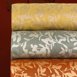 """Ann Gish - Ann Gish King Leaf-Pattern Duvet Cover, 118"""" x 100"""" - We're offering this collection of stunning coordinates in a choice of four amazing color combinations. Choose color below. From Ann Gish®. """"Willow"""" leaf-patterned linens are pure silk. Duvet covers and shams have topstitched flange borders; duvet..."""