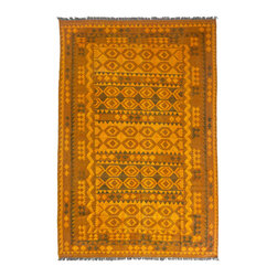 "Darya Rugs - Darya Rugs Kilim, Orange, 6'9"" x 10'1"" M1785-363 - Darya Rugs Kilim collection rugs are craftily woven using the flat-weave knotting technique. Kilims have a low-pile, maintaining its original, ethnic and tribal essence. Kilim rugs are flat woven, meaning they are thin, similar to throw rugs."