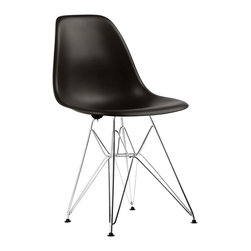 Eiffel Slope Chair in Black - Our Eiffel Slope Chair is inspired by an iconic design of the 1950s and 1960s. The original was born out of technological advancements that allowed a chair to be constructed out of a single mold of fiberglass. With the original mold no longer in production, today's designers have improved this process even further, resulting in a comfortable, stylish, lightweight chair. Replacing fiberglass with more eco-friendly polypropylene, the current iteration is as innovative as it is timeless. The base is made of chromed steel and resembles the structure of the famed Eiffel Tower. Our Eiffel Slope Chair takes this incredible design and makes it accessible and modern, featuring a smooth polypropylene seat that contours to your body. This chair is also one of our most versatile pieces, fitting in at the dinner table, conference table, or anywhere else you're looking to add some seating.
