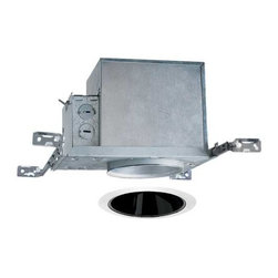 Juno Lighting Group - 4-inch Recessed Lighting Kit with Black Trim - IC1/17B-WH - This recessed lighting kit features a 4-inch insulation-ready housing and a black Alzak� cone trim with white trim ring. The fixture is approved for use in wet locations. The housing can be completely covered with insulation. It is air-tight which reduces heating and cooling costs. The hangers are expandable up to 25 inches. Alzak� is an anodized, hand-polished aluminum reflector with superior glare reduction. Takes (1) 50-watt halogen PAR30 bulb(s). Bulb(s) sold separately. Damp location rated.