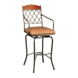 Pastel Napa Ridge 30 in. Swivel Bar Stool with Arms - Bronze - A great choice for anyone who wants to add comfortable seating without compromising on style, the Pastel Napa Ridge 30 in. Swivel Bar Stool with Arms - Bronze will make its presence felt through its perfect mix of traditional and contemporary design. The stool's transitional charm is highlighted by the lattice-pattern back with wood accent, while the generous Shandora Toast faux leather seat with elegantly curved armrests envelopes you in luxurious comfort for hours on end. Fully welded, heavy-duty steel construction makes this stool sturdy enough to withstand anything your active lifestyle might throw your way, while the five-step powder-coat Bronze finish prevents rusting, ensuring it stays like new even after years of use. What's more, the 360-degree swivel feature lets you stay up to speed with everything happening around you and the convenient footrest makes getting in and out of the stool a breeze. Thanks to its casual design and lasting function, this bar stool is sure to be the highlight of your bar, den, or kitchen counter. Please note: This item is not intended for commercial use. Warranty applies to residential use only. Additional features: Lattice-pattern back with matching wood accent Elegantly curved armrests for maximum comfort Footrest for easy getting in and out Simple assembly required