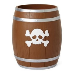 Kassatex - Kassatex Bambini Pirates Waste Basket - Attractive pirates waste basket for your child's bathroom. Imported. Made of 100% resin. Wash with mild soap.