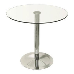 sohoConcept - Lady Table w Chrome Plate (28 in. Round Dinin - Choose Top Size: 28 in. Round DiningSimple and functional. Lady round demonstrates refined design features with its chrome plated round steel pedestal base. Glass top is attached to the tubular post through a laser glued disk. Suitable for both residential and commercial use and commercial applications. 28 in. Round Dining Table: 28 in. Dia. x 31 in. H. 32 in. Round Dining Table: 32 in. Dia. x 31 in. H. 36 in. Round Dining Table: 36 in. Dia. x 31 in. H. 40 in. Round Dining Table: 40 in. Dia. x 31 in. H. 28 in. Round Counter Table: 28 in. Dia. x 36 in. H. 32 in. Round Counter Table: 32 in. Dia. x 36 in. H. 28 in. Round Bar Table: 28 in. Dia. x 43 in. H. 32 in. Round Bar Table: 32 in. Dia. x 43 in. H