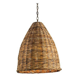 Currey & Company Basket Pendant Light - Currey & Company Basket Pendant LightA natural rattan pendant is part of Currey & Company's organic materials collection. The Basket pendant will add rustic charm to any interior.Material: Wrought Iron/Arurog