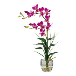 Nearly Natural - Dendrobium w/Glass Vase Silk Flower Arrangement - Arching gracefully over natural stems and lifelike leaves, our Dendrobrium arrangement would be an elegant addition to any home or office decor. The whimsical orchid blooms skip along twining stems and create a gentle, refined design statement. A liquid illusion-filled glass vase perfectly finishes this beautiful arrangement.