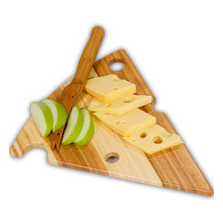 """Picnic Plus - Alpine Bamboo Cutting Board - Serve cheese and snacks on our Picnic Plus Alpine triangular cheese wedge shaped bamboo cutting board and matching knife set. With our creative design, this fanciful """"Swiss Cheese"""" shaped board can be used for both home and away entertaining. The Alpine board features light and dark bamboo stripes and """"swiss cheese"""" holes giving the board and knife unique aesthetic design. Our eco friendly board is made with renewable bamboo and is more durable than a maple board. The large 14"""" x 11"""" serving area can hold a wide variety of cheeses, crackers, grapes and other snacks, yet is portable enough for picnics, concerts, outings, and travel. Includes 10"""" bamboo cheese knife.; Picnic Plus bamboo cheese wedge cutting board with matching bamboo knife;Country of Origin: China;Weight: 1 lbs;Dimensions: 14""""W x 11""""D x 1/2"""" H"""