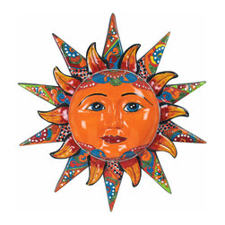 """20"""" Talavera Sun Face - Add warmth and fun to any interior or exterior wall with this delightful multi-dimensional talavera sun face. Handcrafted and painted by Mexican talavera artisans. Visit our website for more. Each is a unique creation, so expect variations in design and color pallet. 20"""" Dia. x 4.5"""" d Free Shipping in Continental U.S."""