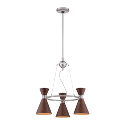 George Kovacs - George Kovacs P1823-651 Conic 3 Lt Ch Chandeliers In Distressed Koa - Product