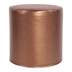 Howard Elliott - Howard Elliott Ostrich Copper No Tip Cylinder Ottoman - No tip cylinder ostrich copper