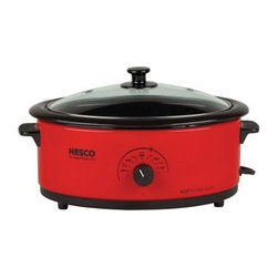 "Nesco 4816-12G 6 qt. Roaster Oven - Red - The Nesco 4816-12G 6 qt. Roaster Oven - Red is ideal for family and holiday gatherings, a potluck in your neighborhood or at the office, or for your next tailgating party. This slow cooker is just the right size for a pot roast, lasagna, two Cornish game hens, or even a whole chicken. The unique """"Circle of Heat"""" heating element provides moist, even cooking. The cool-touch handles allow you to easily transport your heated food from the heatwell to the serving space. Do not place the heatwell in the dishwasher or immerse in water. Wash the cover, cookwell, and rack in warm, sudsy water, then rinse and dry.About Ronco Ron Popeil, founder of Ronco, is one of America's most unique, well-known inventors. If you have a TV, chances are you've seen him demonstrating a variety of products that have become household names. From the Pocket Fisherman to the Dial-O-Matic, Veg-O-Matic, and Mince-O-Matic, Ronco knows how to bring easy-to-use, functional products to consumers. Over the past 40 years, Ronco's products have found a place throughout homes all over the Unites States. Now based in New York, the widely known Ronco brand is focused on selling high-quality consumer housewares that make life easier."