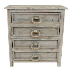 J Hunt and Company - Rope Loop Handle Chest - This 4-drawer chest creates the perfect additional storage space. The rope loop drawer pulls weathered finish are just two of the details that make this piece unique.