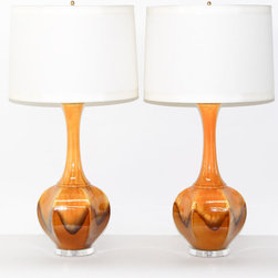 Pair Hollywood Regency Ceramic Lamps by Retro Symphony - This is an awesome orange duo — this time in a very unique shape with a gorgeous colored glaze decoration. I would love to use these to flank a sideboard in a hip and colorful dining room.