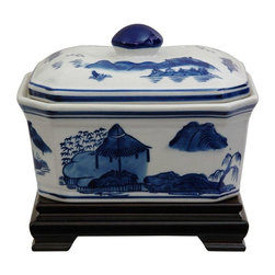 "Oriental Furniture - 8"" Landscape Blue & White Porcelain Covered Jar - A wide covered porcelain jar with removable lid, featuring a classic Ming blue and white landscape pattern with mountain and tree detail. Finished in an antiqued ice crackle over glace. Display on a coffee table, buffet, credenza, or dresser filled with candies, potpourri or other small items."