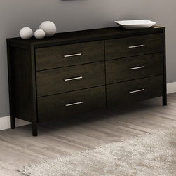South Shore - Gravity 6 Drawer Double Dresser - This modern dresser features six practical drawers as well as decorative legs that give the item a lighter feel Features: -Six practical drawers. -Mounted on legs for a lighter feel. -Elegant metal handles with a satin nickel finish . -Drawers interior dimensions: W25?? x front to back 13??. -Manufactured from laminated particle board. -Our products are made of EPP certified panels (Environmentally Preferred Product).. -5 year Warranty.