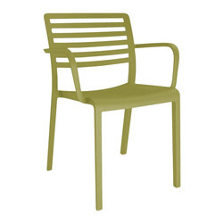 "Barcelona Dd - ""Resol Lama Armchair, 2 Pack, Olive Green"" - ""The Lama Armchair  is the result  reinterpreting the classical outdoor furniture design  made of metal slats that sets new standards in comfort and style. For this chair the designer Josep Llusc??? has mixed three basic concepts:  lightness, transparency and comfort.   This armchair is made of a combination of fiberglass and polypropylene manufactured in one process that gives the product this flowing and harmonious design. Its different color availability ensures cosines and warm appearance that visually supports the classic nuance of the armrests. Despite the design purist give the intricately and delicately carved cross braces in the seat back a trace of elegance. A robust, comfortable seat offers high seating comfort and is extremely durability. This Lama armchair can be used both indoors and outdoors, as the materials are weather resistant and durable. Designed by Josep Llusca in Barcelona, produced in Spain by Resol Group. Product suitable for commercial and residential use. To be placed on a flat floor surface, making sure it is stable. Weight limit per chair : 330 lb.   Do not use high pressure sprayer. Do not use aggressive cleaning products such as abrasive liquids, alcohol, glass-cleaners, scouring pads, etc. Clean the surface with a dry cloth or soapy water.  Armchair Dimensions : W 22.41 x L 21.26 x H 31.50 x SH 18.70 in  Armchair Net Weight:9.26 lbs.Fiberglass and PolypropeleneIndoor / Outdoor useContemporary, light, robust and resistantDesigned in Barcelona, made in SpainOlive Green"""