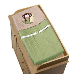 Sweet Jojo Designs - Monkey Changing Pad Cover - The Monkey changing pad cover will help complete the look of your Sweet Jojo Designs nursery. This changing pad cover can be used with standard or contoured changing pads up to 17in. x 31in. It also has elastic edges for a tailored, snug fit.