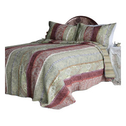 Blancho Bedding - [Mysterious Totem] Cotton 3PC Vermicelli-Quilted Patchwork Quilt Set Full/Queen - Set includes a quilt and two quilted shams (one in twin set). For convenience, all bedding components are machine washable on cold in the gentle cycle and can be dried on low heat and will last for years. Intricate vermicelli quilting provides a rich surface texture. This vermicelli-quilted quilt set will refresh your bedroom decor instantly, create a cozy and inviting atmosphere and is sure to transform the look of your bedroom or guest room. Please note that reverse quilt patterns may vary due to different batch production.