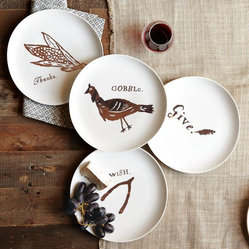 Thanksgiving Dessert Plates - The simple, illustrated feel of these Thanksgiving dessert plates will give a stylish nod from your tabletop to the celebrations of the season.