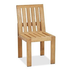 """Madera Teak Dining Side Chair - Crafted of premium Grade A teak that's harvested from sustainable forests, our Madera Dining Chair is built to maintain its beauty and integrity year-round. Features include a wide pitched back for comfort, open slats and a honey-hued finish that's completely natural. Click to read an article on {{link path='pages/popups/madera-care.html' class='popup' width='640' height='700'}}recommended care{{/link}}. Armchair: 25.5"""" wide x 23"""" deep x 35"""" high Side Chair: 18"""" wide x 23"""" deep x 35"""" high Crafted of premium Grade A teak, a dense hardwood that's ideal for outdoor furniture because it's rich in moisture-resistant oils. Left untreated, the wood will weather to a cool silvery gray over time. Hand sanded finish shows natural wood color. Exposed hardware has a stainless steel finish. Dining cushions (sold separately) are available in polyester canvas or fade- and stain-resistant Sunbrella(R); imported. Sunbrella(R) cushions and slipcovers are special order items which receive delivery in 3-4 weeks. Please click on the shipping tab for shipping and return information. View our {{link path='pages/popups/fb-outdoor.html' class='popup' width='480' height='300'}}Furniture Brochure{{/link}}."""