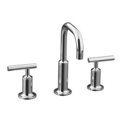 KOHLER - KOHLER K-14406-4-CP Purist Widespread Bathroom Sink Faucet - KOHLER K-14406-4-CP Purist Widespread Bathroom Sink Faucet with Low Gooseneck Spout and Low Lever Handles in Polished Chrome