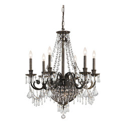 "Crystorama - Vanderbilt Chandelier - Large - Wrought Iron Hand Cut Lead Crystal Chandelier. Takes 9 - 60 w/c bulbs. Chain: 72"" Wire: 120"""