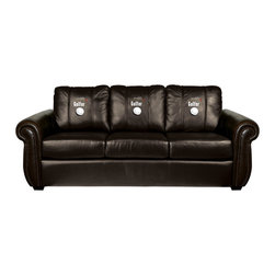 Dreamseat Inc. - Worlds Greatest Golfer Chesapeake BLACK Leather Sofa - Check out this awesome Sofa. It's the ultimate in traditional styled home leather furniture, and it's one of the coolest things we've ever seen. This is unbelievably comfortable - once you're in it, you won't want to get up. Features a zip-in-zip-out logo panel embroidered with 70,000 stitches. Converts from a solid color to custom-logo furniture in seconds - perfect for a shared or multi-purpose room. Root for several teams? Simply swap the panels out when the seasons change. This is a true statement piece that is perfect for your Man Cave, Game Room, basement or garage.