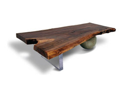 """Walnut Coffee Table - Acrylic & Metal Base - Contemporary coffee table made of salvaged Black Walnut slab. Irregular walnut slab top with raw edges. Base made of 2"""" thick acrylic and steel sphere in aged silver patina."""