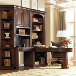 Hooker Furniture - Hooker Furniture European Renaissance II Door Hutch (C) 374-10-419 - Cherry and myrtle burl veneers with hardwood solids are an exquisite combination in the European Renaissance executive home office collection.