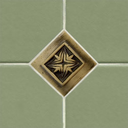 "2"" Solid Brass Wall Tile with Passion Flower Design - Burnished Brass - Add an interesting focal point to your kitchen backsplash or bathroom tile with this 2"" accent tile. Made of solid brass, this tile features a charming design."