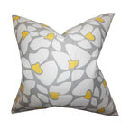 """The Pillow Collection - Zaza Geometric Pillow Gray 18"""" x 18"""" - Modern and chic, this toss pillow is a unique addition to your collection of home accessory. This accent pillow features a geometric detail in shades of white and yellow on a gray background. This statement piece looks great on its own and can easily be combined with solids and other patterns. Made in the USA and uses 100% soft cotton fabric. Hidden zipper closure for easy cover removal.  Knife edge finish on all four sides.  Reversible pillow with the same fabric on the back side.  Spot cleaning suggested."""