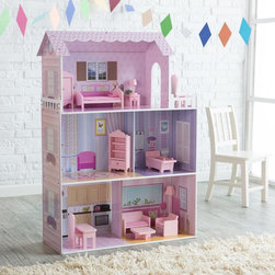 Teamson Kids - Teamson Kids Fancy Mansion Play House with Furniture - KYD-10922A - Shop for Dollhouses and Dollhouse Furnishings from Hayneedle.com! Dolls will fall head over heels when they see the Teamson Design Fancy Mansion Play House with Furniture in its three stories of glory. But they won't fall out of the house when walking from room to room thanks to the ingenious partial walls between rooms on the first and second floors. And there's plenty of headspace for dolls up to 12 inches tall. Window boxes springtime flowers and a faux balcony beautify the pink exterior. Beautifully painted walls create the look of wallpaper windows cabinets curtains and more. The kitchen and living/dining area on the first floor are bright and inviting with shades of pink and an eternally sunny day shining through the picture window. The second floor houses living space and a sparkling clean purple bathroom. Don't miss the view from the amazing third floor bedroom's balcony! Hours of fun can be had rearranging the pink bed armchairs floor lamp desk lamp end table armoire ottoman bathtub dining set and shelf. This open faced design requires some assembly. Made with non-toxic eco-friendly materials it's sure to be a hit with children ages 3 and up. About Teamson DesignBased in Edgewood N.Y. Teamson Design Corporation is a wholesale gift and furniture company that specializes in handmade and hand painted kid-themed furniture collections and occasional home accents. In business since 1997 Teamson continues to inspire homes with creative and colorful furniture.