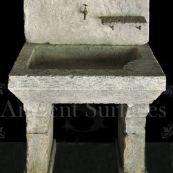 Hand Carved Antique Limestone Master Bathroom Powder room or Laundry Room Sink - Those are the crème de la crème of ancient marble and stone sinks. Their composition, textures and subject are unique. If you want to own a fine sink that is both functional and art historic for your master bath, powder or kitchen look no further.