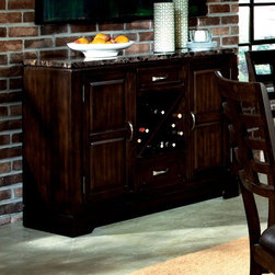 Standard Furniture - Bella Server - Features: -Faux marble travertine tops.-Server has two drawers and doors and a removable wine rack.-Veneers and wood construction.-Deep brown finish.-Bella collection.-Collection: Bella.-Distressed: No.Warranty: -Manufacturer provides one year warranty.