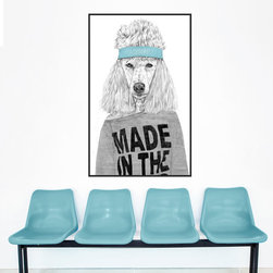 My Wonderful Walls - Standard Poodle Wall Decal - 80s Girl Animal Art by Balázs Solti, Small - - Product: 80s inspired Standard Poodle dog wall decal