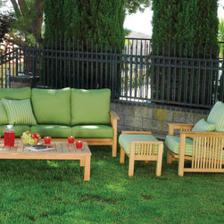 Coastal Outdoor 4 PC Conversation Set - This Outdoor Set  includes Outdoor Sofa, Outdoor Arm Chair, Coffee Table and Ottoman. This stylish and classic patio set is great for any backyard.