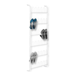 18-Pair Odd  Shoe Rack, White - Honey-Can-Do SHO-01169 18 Pair Over-the-Door Shoe Rack. Space saving, over-the-door shoe rack eliminates closet floor clutter by neatly displaying up to 18 pair of shoes in an easily accessible format. The rack's sturdy, rust-resistant steel frame hangs easily over any standard size door. Wire shoe forms help to hold the shape of your shoes while allowing some flexibility for varying styles and sizes.