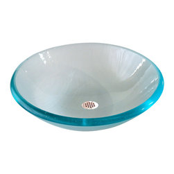 Brock Madison Glass LLC - Cyan to Electric Blue Bowl - From all the colors that make up a cresting, sunny, ocean wave, to the beautiful fine linear lines that flow seamlessly within the bowls form, you'll know that this is no ordinary sink bowl.   The fine lines add a nice ripple texture inside the bowl and casts beautiful silhouettes on adjacent surfaces.