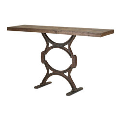 Kathy Kuo Home - Industrial Chic Reclaimed Wood Factory Console Table - Crafted from reclaimed wood and a seriously strong cast iron base, this is an instant classic of industrial style.
