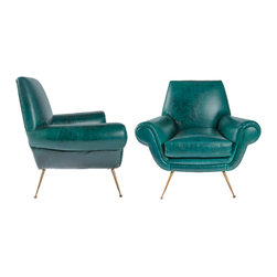 Teal Club Chairs Attributed to Marco Zanuso - These midcentury chairs are so fabulous. I love the color, but the brass legs are especially killer.