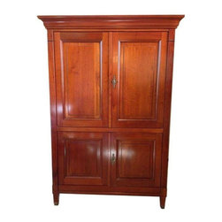 Grange French Armoire - This is a meticulously crafted entertainment armoire or cabinet in Cherry finish made by Grange in France. Built to order in 2004 with 4 shelves, 3 drawers, swivel table and easy access for electronic components. Front doors made to retract. Brass accents and details. Excellent condition.  Grange has been making furniture since 1904 from a base of operations in Monts du Lyonnais in France. This cabinet was stained, lacquered, waxed and polished by hand. Beautiful craftsmanship throughout. This is a truly beautiful piece of craftsmanship.