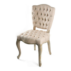 Kathy Kuo Home - French Country Tufted Hemp Linen Piaf Dining Chair - A traditional and luxurious side chair recalling a bygone era of style and sophistication, this antique piece brings opulence and formality to any dining experience. The tufted and gathered upholstery of 100% hemp gives authenticity to this French style chair.