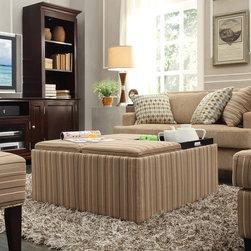 Inspire Q - INSPIRE Q Montrose Mocha Brown Stripe Storage Cocktail Ottoman - Moda Fun Geometric Print Modern Round Swivel Chair