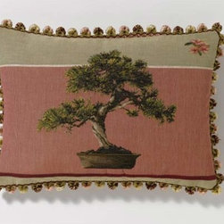 Corona Decor - Rose Bonsai Tree Pillow - -French Woven Tapestry  -Handcrafted In USA  -Finished With Hand-Tied Tassel Fringes. Corona Decor - PF8489